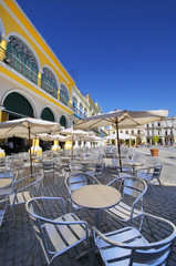 Outdoor cafe and brewery in old Havana plaza