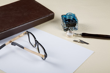 Still-life with the old Ink pot and quill