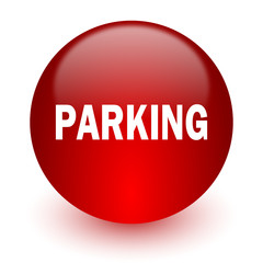 parking red computer icon on white background