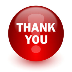 thank you red computer icon on white background