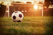 canvas print picture - Soccer sunset