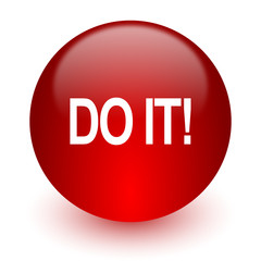 do it red computer icon on white background