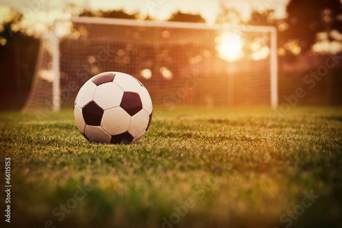 canvas print picture Soccer sunset