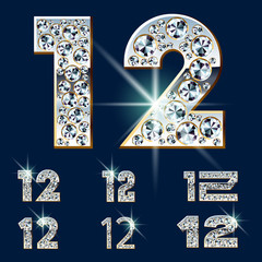 Ultimate alphabet of diamonds and platinum ingot. Numbers 1 2