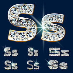Ultimate alphabet of diamonds and platinum ingot. Letter S