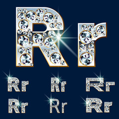 Ultimate alphabet of diamonds and platinum ingot. Letter R