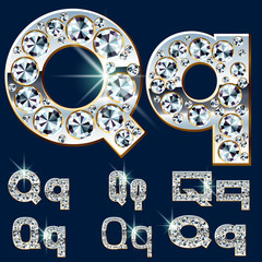 Ultimate alphabet of diamonds and platinum ingot. Letter Q