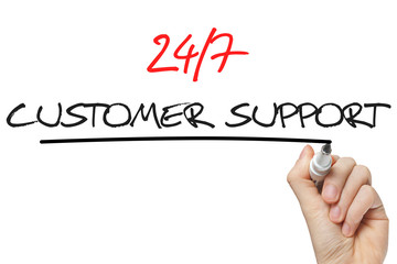 Hand writing 24 7 customer support