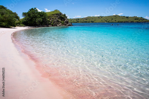 Foto op Plexiglas Indonesië Sunny day on Pink Beach in Komodo National Park