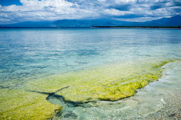 beautiful coastline on the island of Gili Meno, Lombok, Indonesi