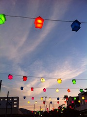street colorful lanterns