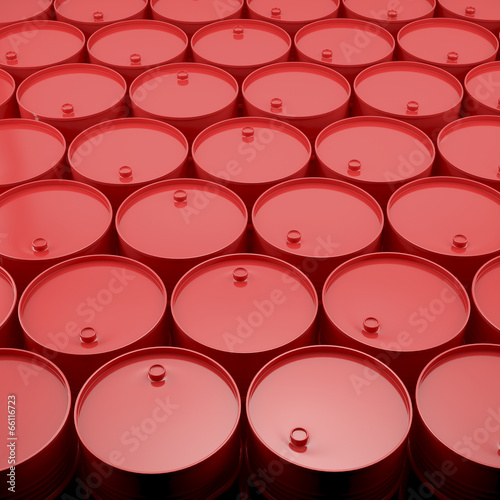 Large group of red  barrels.