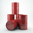 Red Oil barrels on white