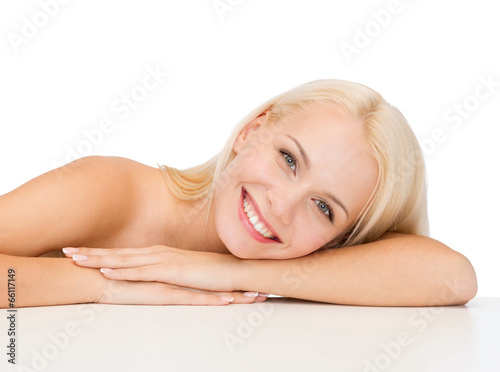 clean face and shoulders of beautiful young woman