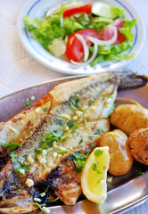 grilled seabass cooked with potatoes