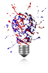 Red blue paint burst made light bulb