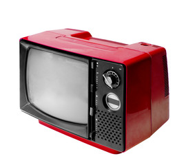 Red vintage analog television isolated with clipping path.