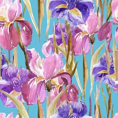 Irises seamless pattern