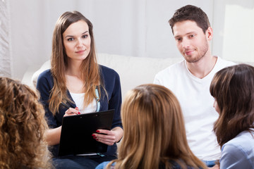Group of young people during psychotherapy