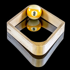 Billiards game of nine ball rack