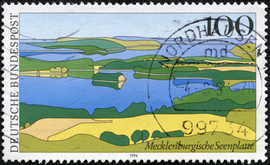 stamp printed in the Germany shows Mecklenburg Lake District