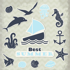 Vector stickers of marine subjects in blue tones