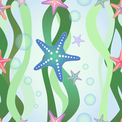 Vector seamless pattern with starfish and algae