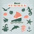 Set of vector green stickers with marine life