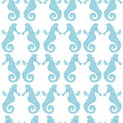 Seamless pattern with sea-horses