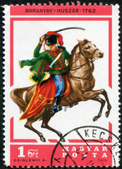 stamp printed by Hungary, shows Hussar Baranya