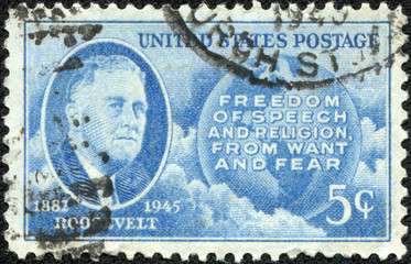 stamp printed in the USA, shows Franklin Delano Roosevelt