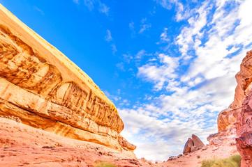 Scenic Jordanian rocky hill in Wadi Rum, Jordan.