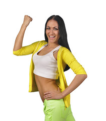 Girl in sports in bright clothes isolated on white background.