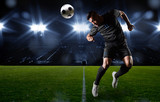 Hispanic Soccer Player heading the ball poster