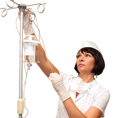 Nurse preparing to hold intravenous drip medication