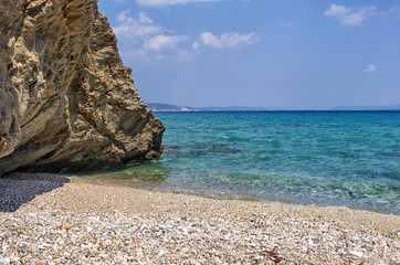 Rocks in a sandy beach in Chalkidiki, Greece