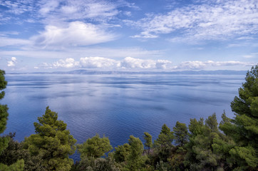 Amazing view from a hill to the sea, in Chalkidiki, Greece