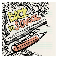Back to school naive primitive doodles hand drawn ink