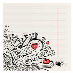 Back to school naive primitive doodles hand drawn