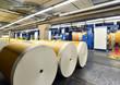 Papierrollen in Druckerei //  rolls of paper in printing house