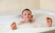 Boy having a relaxing bubble bath
