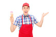 Excited ice cream vendor gesturing with hand