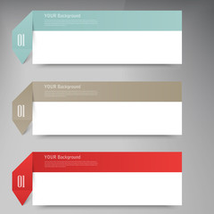 Modern business origami style options banner.