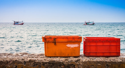 Plastic crates or storage boxes for fishery industrial