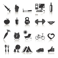 Vector black icons with reflection on health