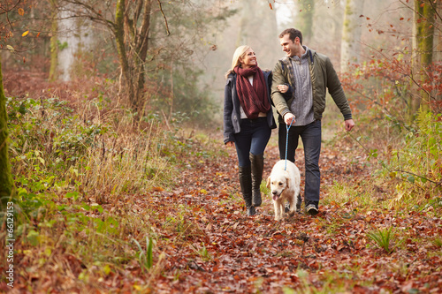 Leinwanddruck Bild Couple Walking Dog Through Winter Woodland
