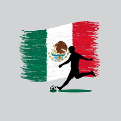 Soccer Player action with United Mexican States flag on backgrou