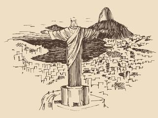 Rio de Janeiro city, Brazil vintage engraved illustration