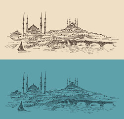 Istanbul, city architecture, vintage engraved illustration