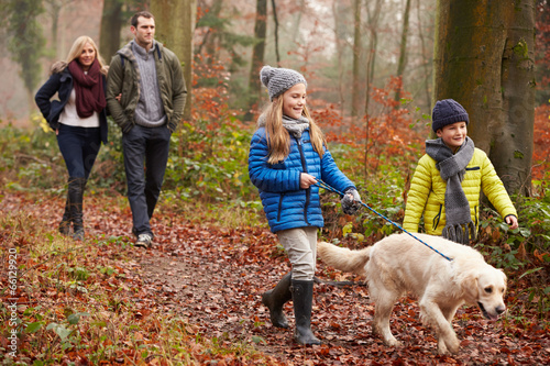 Family Walking Dog Through Winter Woodland - 66129920